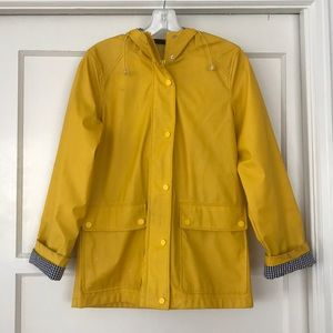 Topshop gingham detail yellow rain jacket raincoat